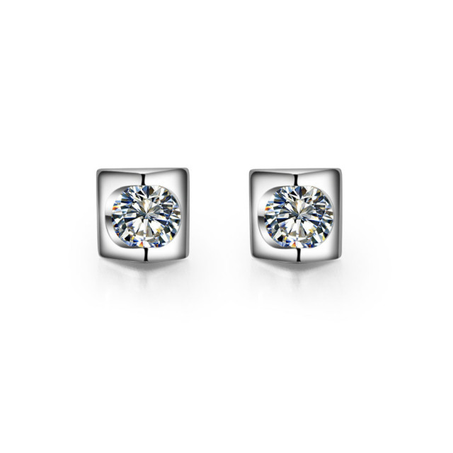 Kiss The Sky Genuine Nscd Synthetic Diamond Engagement Sterling Silver Jewelry Stud Earrings For Women Platinum Plated