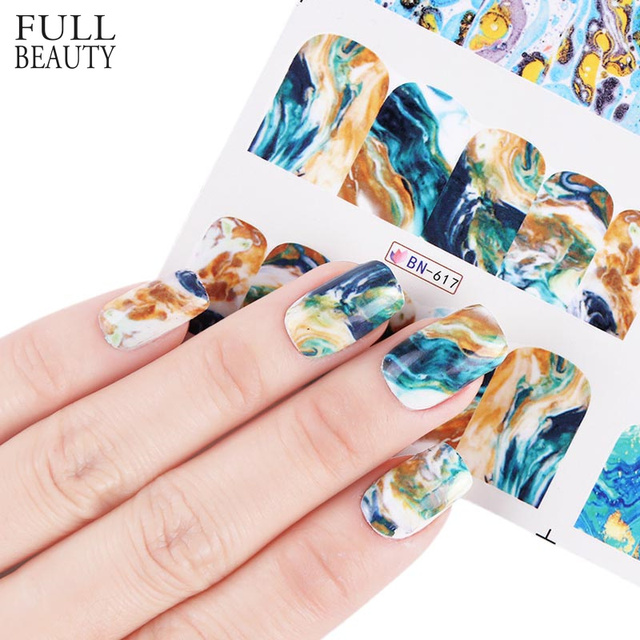 New Gradient Marble 12 Designs Nail Art Sticker Fashion Full Cover Image Decals Nail Transfer Water Foils Beauty Tool BN613-624