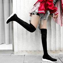 NAYIDUYUN   Thigh High Boots Women Velvet Wedges Platform Low Heel Over The Knee High Riding Booties Slim Leg Punk Long Sneakers