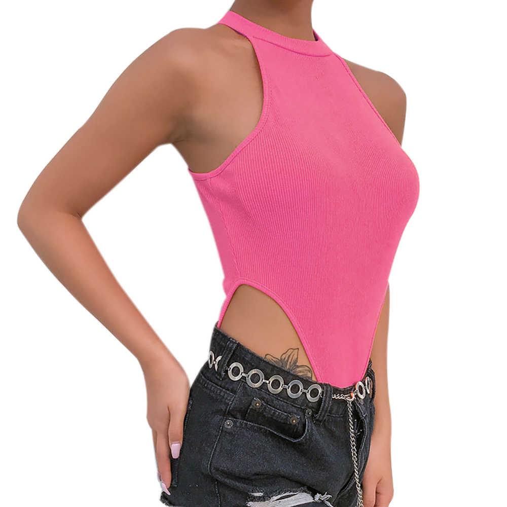 HEFLASHOR 2019 mujer moda Sexy Halter de hombro de punto ahueca hacia fuera mono nuevo sólido Delgado Fit Skinny transpirable Bodysuit