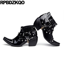 Booties Fashion Rivet Chunky Patent Leather Rock Mens High Heel Boots Harness Shoes Chelsea Ankle Pointed Toe Stud Punk Skull