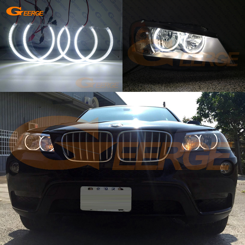 цена на For BMW X3 F25 2010 2011 2012 2013 2014 HALOGEN HEADLIGHT Excellent Angel Eyes Ultra bright illumination smd led Angel Eyes kit
