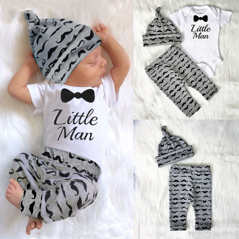 3 Pieces Infant Newborn Baby Boy Outfits Clothes Set Print Letter Little Man Rompers+Pants+Hats Baby Jumpsuit Set 0-18M
