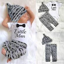 3 peças infantil bebê recém-nascido roupas menino conjunto de impressão carta pouco homem macacão + calças + chapéus do bebê macacão conjunto 0-18m