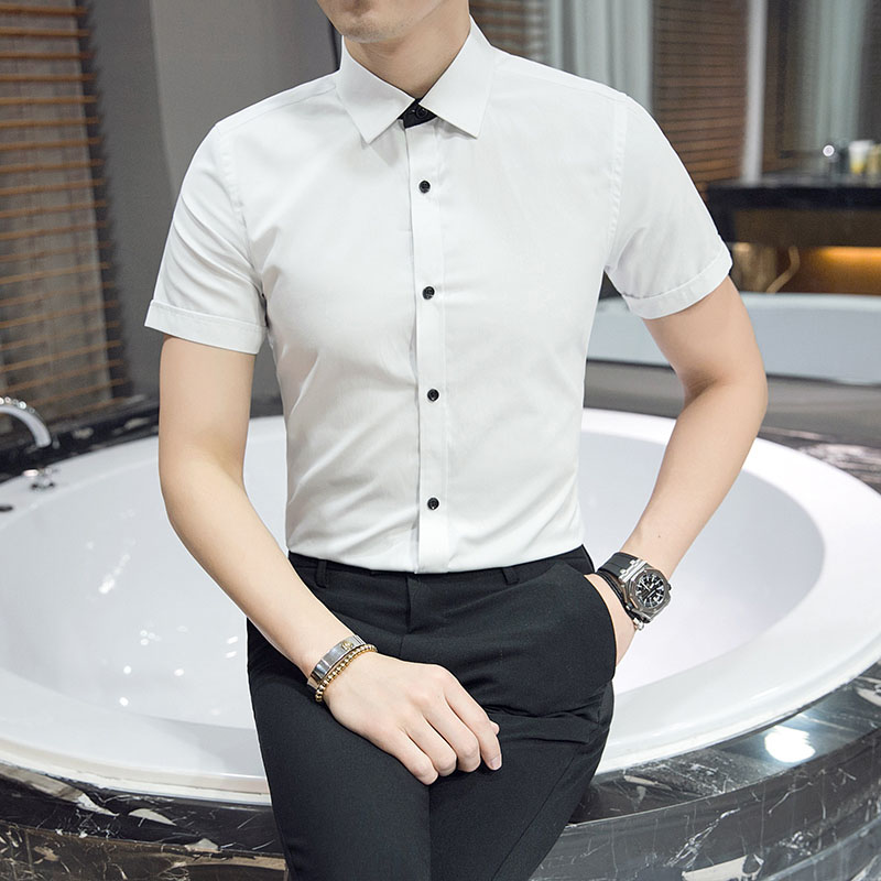 Envmenst 2017 Summer New Style Men Shirt Short Sleeve Casual Social Male Dress Shirts Male High Quality Solid Color Shirt M~4XL