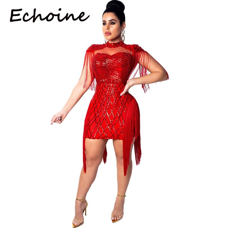 Echoine mode robe en maille transparente sans manches Sequin Mini robe Zipper Clubwear vêtements d'été pour les femmes Vestidos