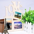 3pcs 2017 New Lovely Hollow Love Wooden Family Photo Picture Frame Rahmen White Base Art Home Decoration