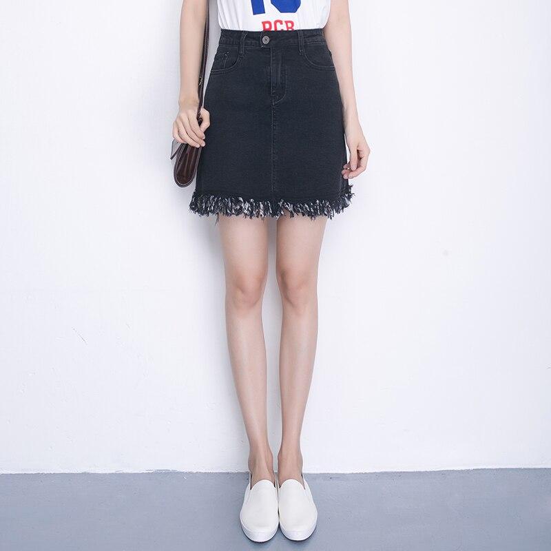 383206bfc87e0 Elastic Waist Plus Size Denim Skirt High Waist Jeans Skirts Womens A Line  Pencil Skirt Sexy Mini Skirt Fashion 2017 Summer 3XL-in Skirts from Women s  ...