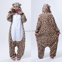 Unisex Adult Cosplay Costume Animal Leopard Bear Anime Onesie Pajama For Halloween Carnival Masquerade Party
