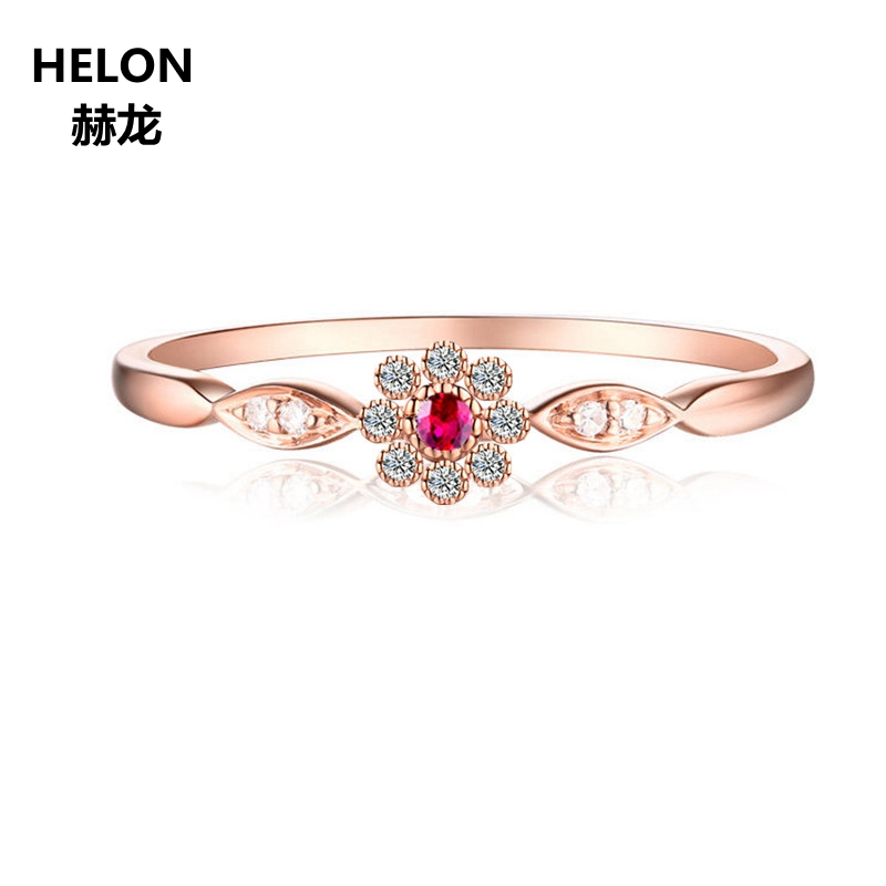 Cute Romantic Women Party Fine Ring Solid 10k Rose Gold Natural Diamonds Ruby Engagement Wedding Ring new solid au750 rose gold ring women cute link party ring can adjustable ring