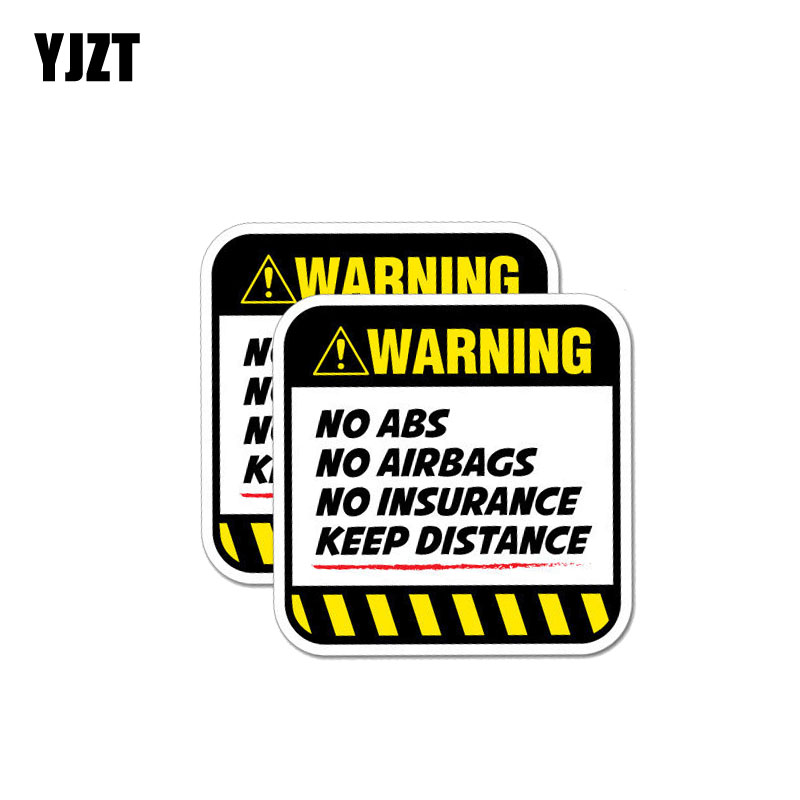 YJZT 2X 8.5CM*8.5CM Danger Car Sticker Warning NO ABS  AIRBAGS  INSURANCE KEEP DISTANCE Decal 12-1037