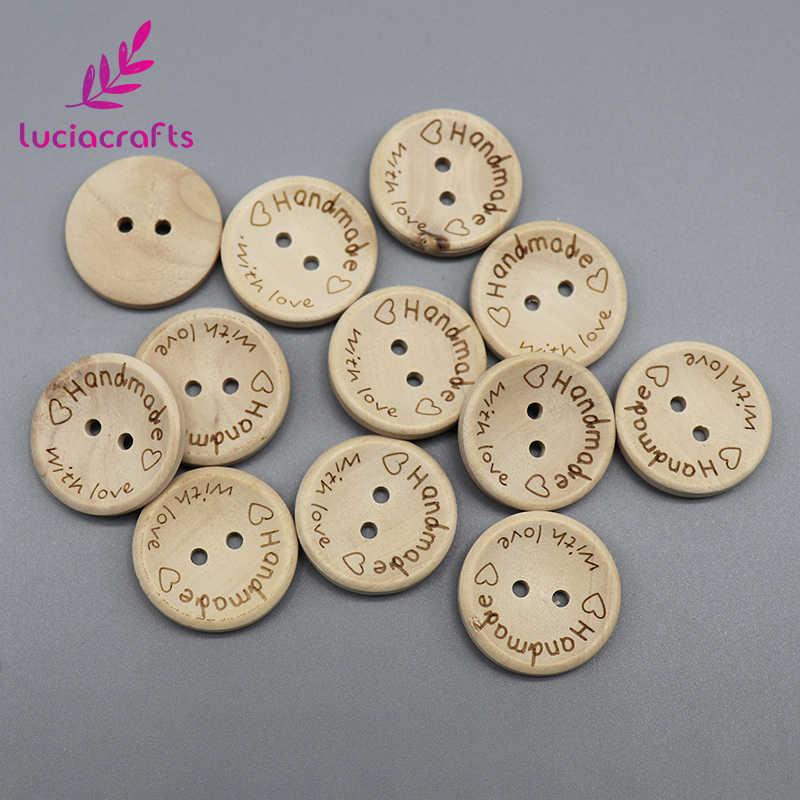 Lucia el sanatları 2-delik el yapımı aşk yuvarlak ahşap düğmeler karalama defteri dikiş DIY doğal düğmesi konfeksiyon aksesuarları E0110