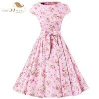 Cap Sleeve Floral Dress A Line Audrey Hepburn Robe Retro Swing Casual 50s Vintage Vestidos Elegant