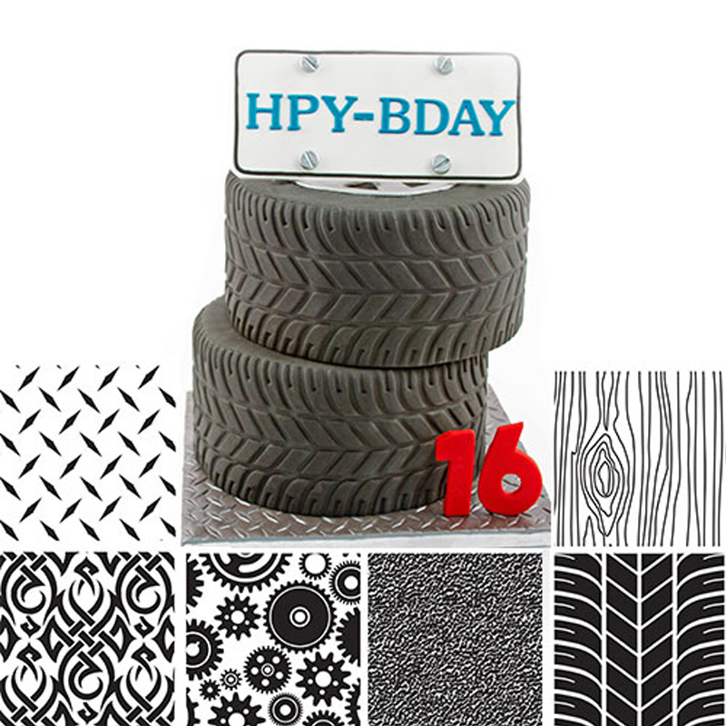 6pcs 7x10 Fondant Cake Molds Manly Texture Sheet Cupcakes Impression Mats Gears Tire Triead Shaped Cake