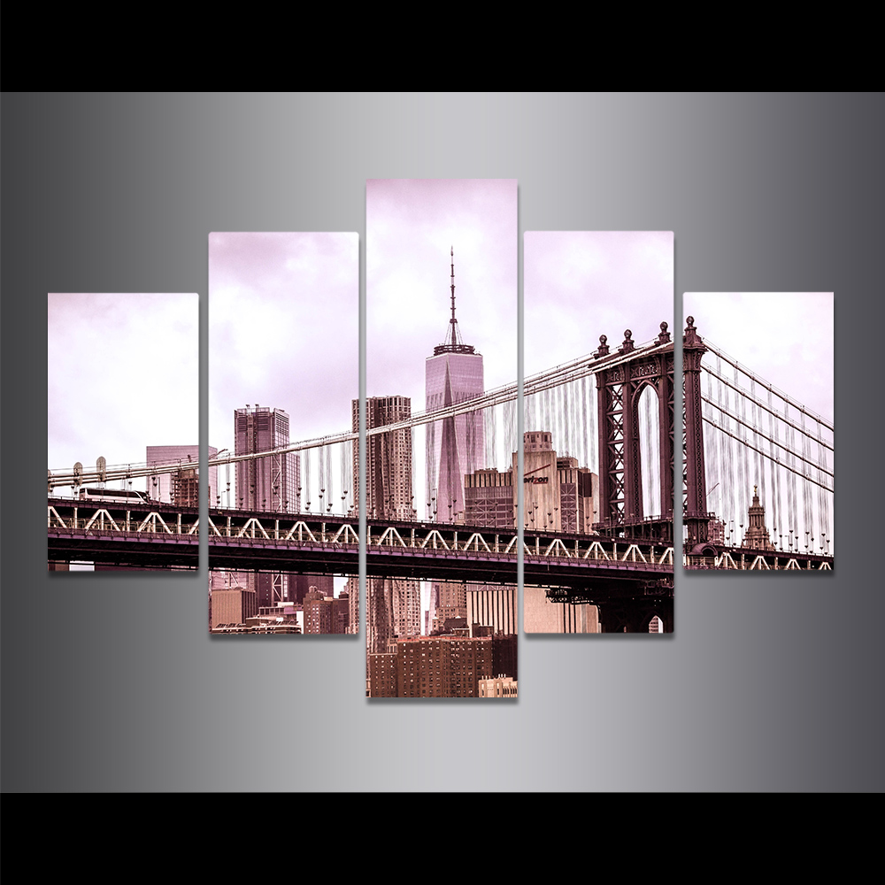 Unframed Canvas Painting Bridge Building Black White Art Photo Picture Prints Wall Picture For Living Room Wall Art Decoration