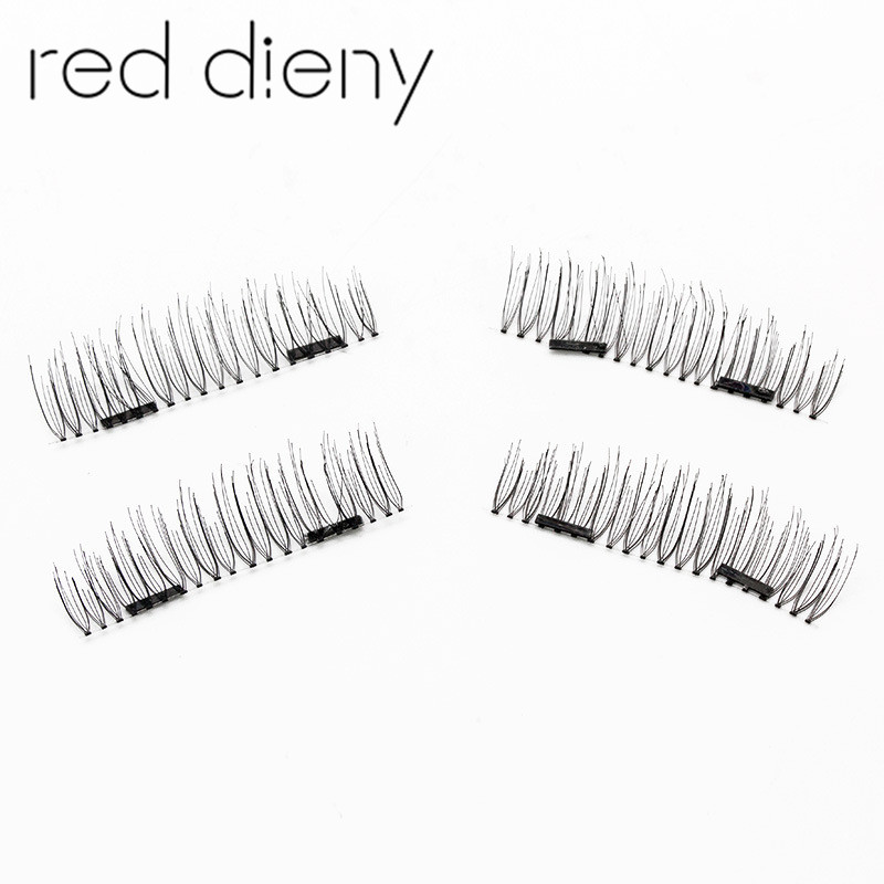 New Easy To Wear 3D Magnetic False Eyelashes Double Magnet Full Strip Magnetic Soft Hair Reusable Fake Eye Lashes Extension kit