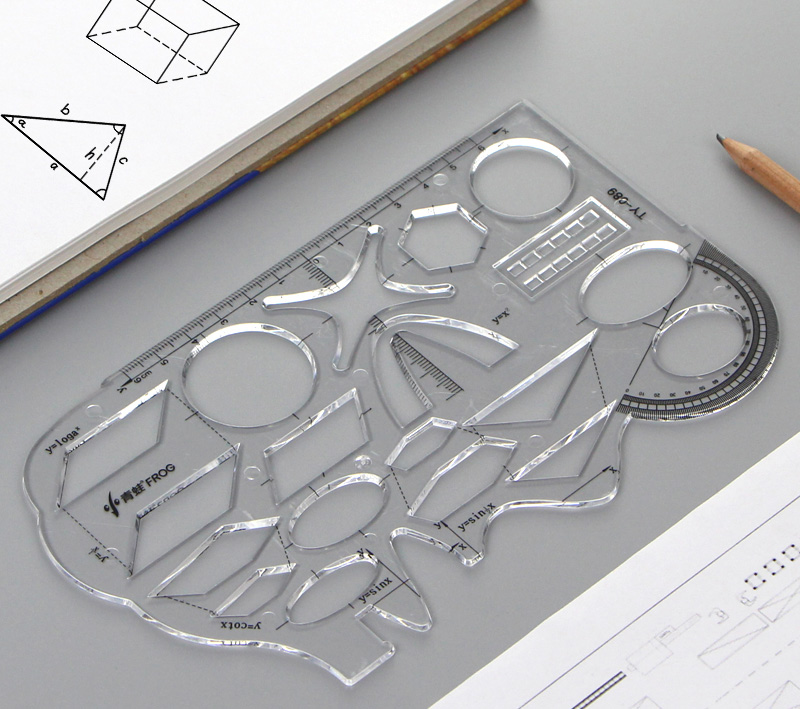 Multifunctional Middle School Students'mathematical Template Ruler Drawing Ruler Geometric Template Ruler Functional Graphic Rul