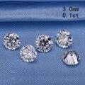 Teste positivo 3.0mm 0.1ct forma redonda brilliant cut moissanites pedra solta para os anéis de noivado preço de varejo