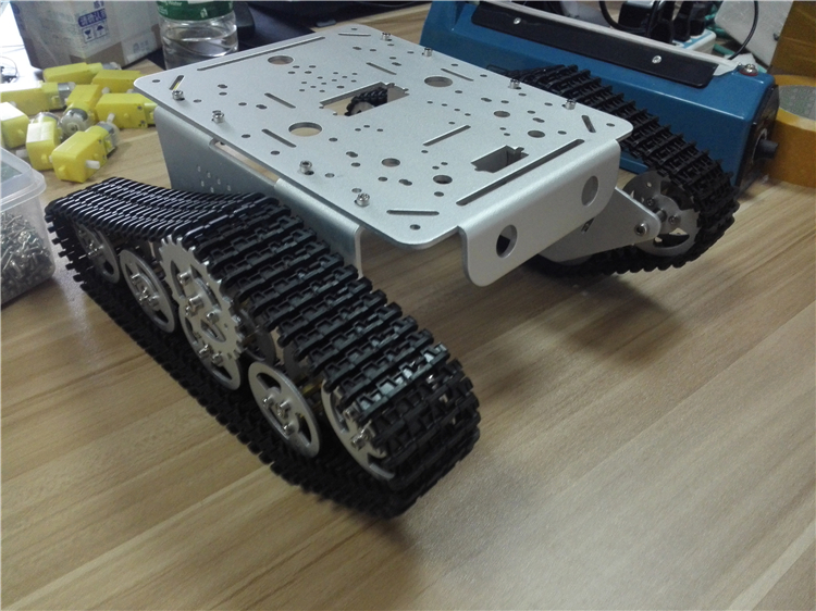 Hello Maker T300-M Silver Metal Tank Chassis Robbot Chassis Rc Track hello maker 158 alloy diy tank driving wheel with coupling for tank robbot chassis