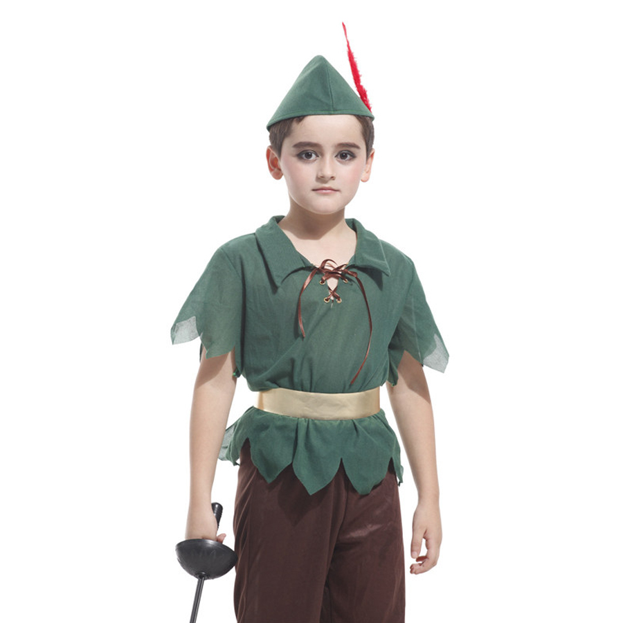 MOONIGHT 5 Pcs Short Sleeve Peter Pan Costumes For Boys Halloween Carnival Cosplay Costumes For Kids Children Cosplay Costumes