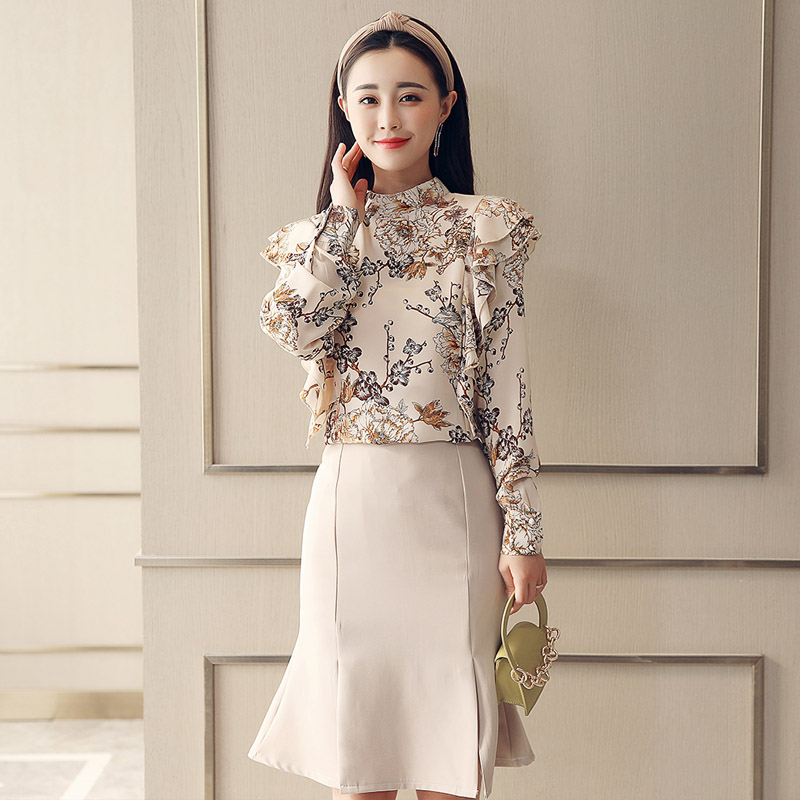 spring women chiffon blouse new floral shirt fish tail skirts korean fashion suits lady  ...