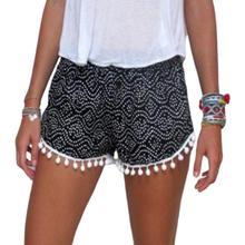 fb4c029085 Mujer de verano bohemio pantalones cortos Polka Dot Graffiti impreso pompón bola  borlas de pierna Amplia playa Tribal Mini panta.