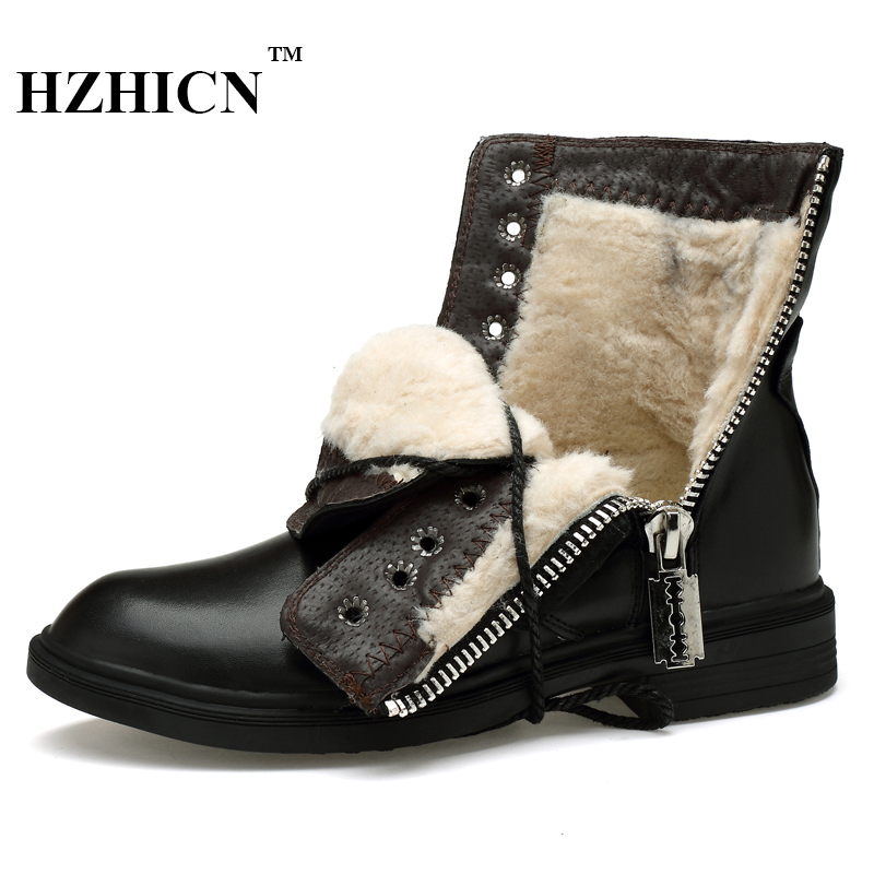 Couple Shoes Plus Size 36-46 Snow Boots for Men Winter New Genuine Leather Shoes Short Plush Fashion Luxury Brand Martin Boots size 36 46 men