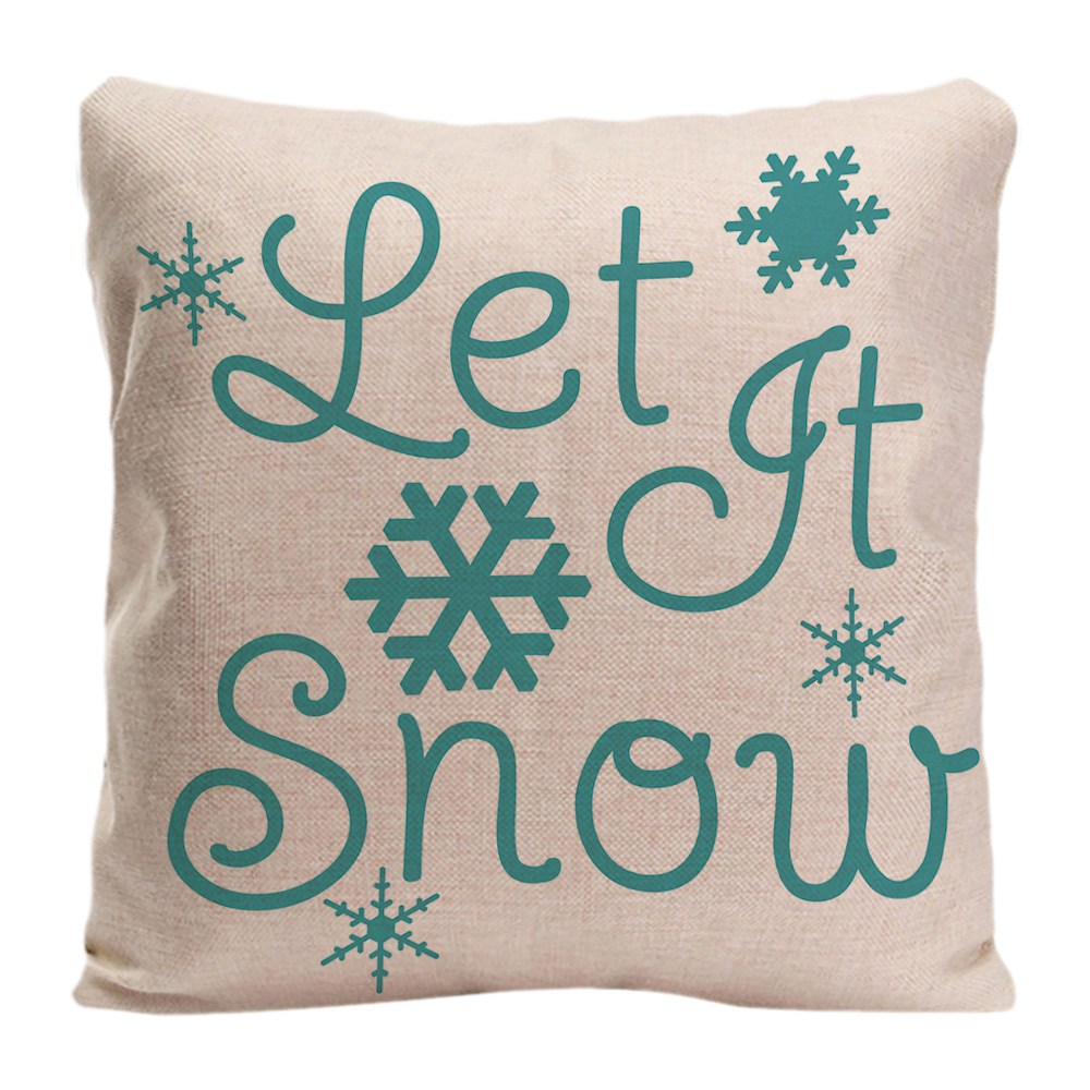 Kingtime Let It Snow Throw Cushion Cover Snowflake Home Decor Pillow Case for Car Sofa Bedroom Cotton Linen Pillowcase