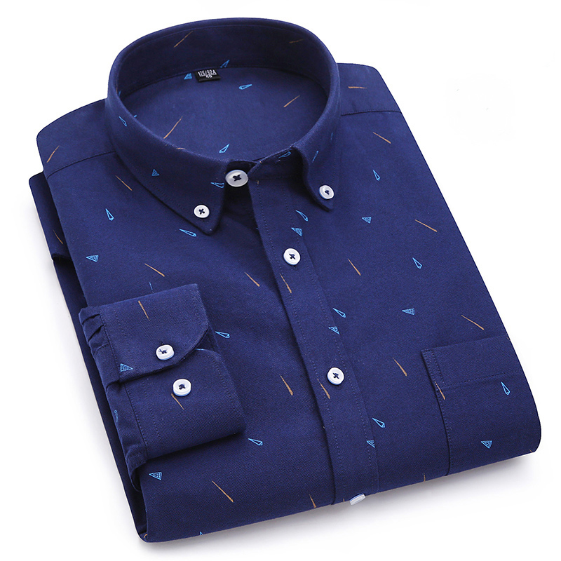Print Oxford 100% Cotton Men's Casual Shirt Long Sleeve  Non-iron Comfortable Slim Fit