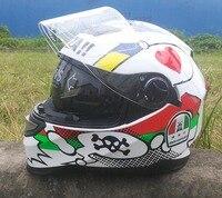 MALUSHUN Motorcycle Full Face Helmet Double Lens Motocicleta Casco Capacetes DOT Approved White
