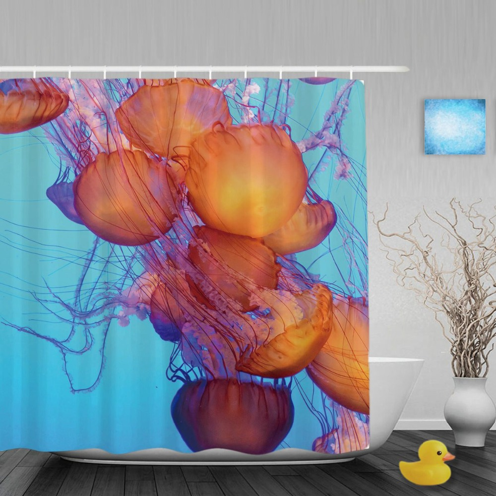 Orange Jellyfish Floating Bathroom Shower <font><b>Curtain</b></font> Swimming In Blue Ocean Shower <font><b>Curtains</b></font> Waterproof Polyester Fabric With Hooks