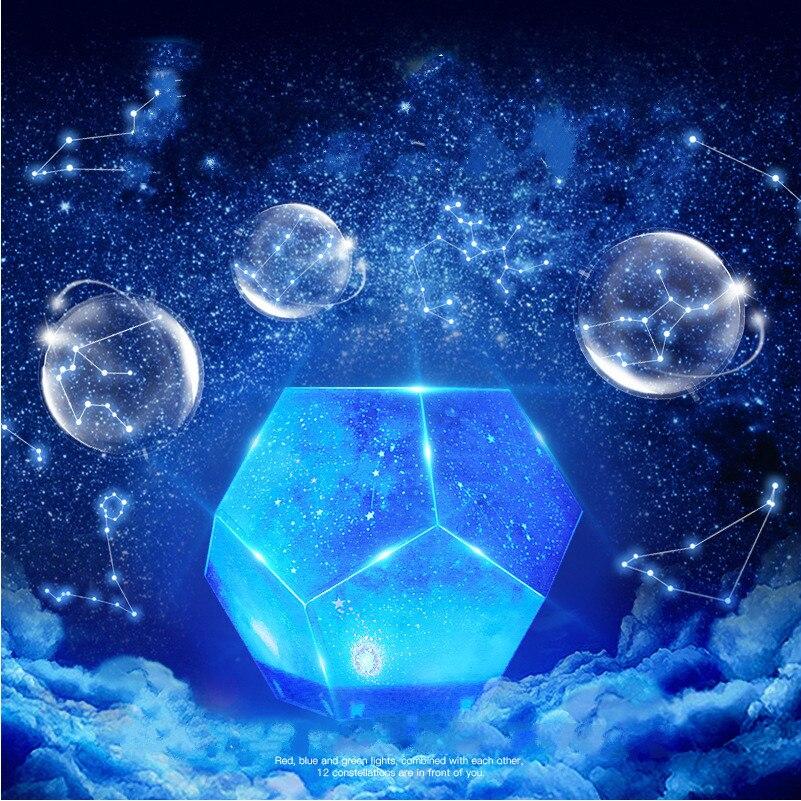Красочные светодиодные Звезды Ночник проектор 12 созвездий вращающийся космос и небо проекция настольная лампа USB перезаряжаемая лампа