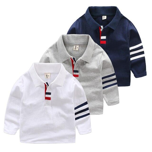 7aa3beca8 Spring Autumn Boys Lapel Polo Shirt Toddler Long Sleeve Tops Gray White  Navy Blue Kids Cotton