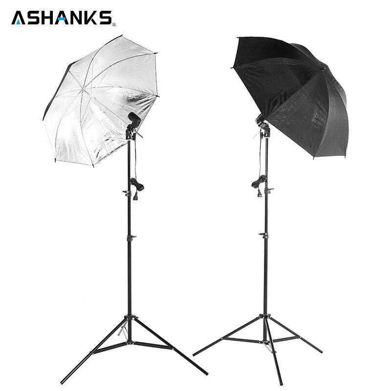 2 pcs 83 CM Parapluie Réfléchissant Photo Studio + 2 PCS 2 M Lumière stand + 2 pcs unique lampe titulaire Photographie Softbox Lumière Kit