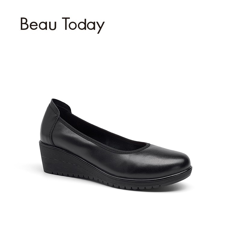 BeauToday Women Pumps Genuine Leather Work Shoes Nappa Cow Leather Round Toe High Heel Wedges Office