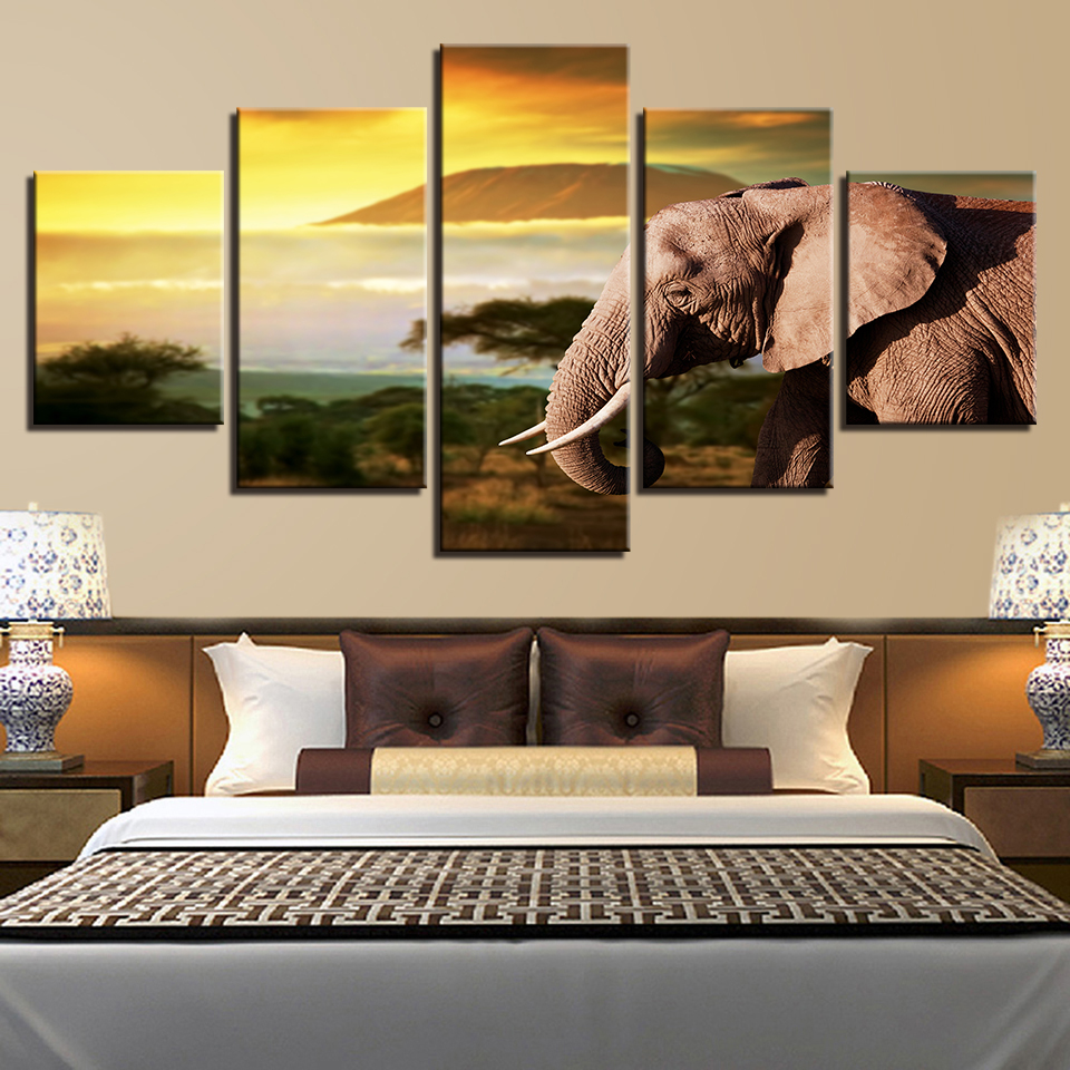 Canvas Hd Prints Poster Modular Pictures 5 Pieces Animal