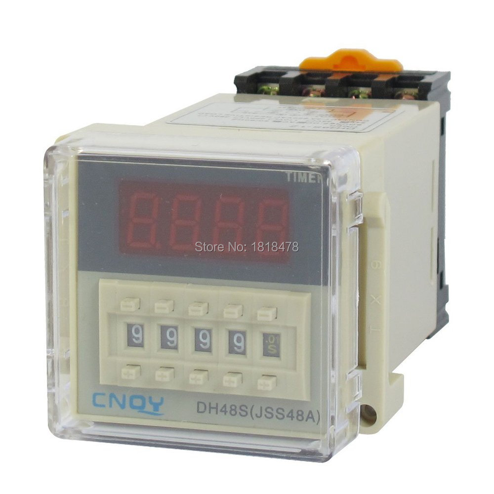 AC/DC24V  12V 220V 110V 36V 48V SPST 8P 0.01S-9999H Timer Delay DIN Rail Time Relay DH48S-1Z w Socket ac 380v 0 60 minutes 8 pin din rail delay timer time relay w base ah3 3