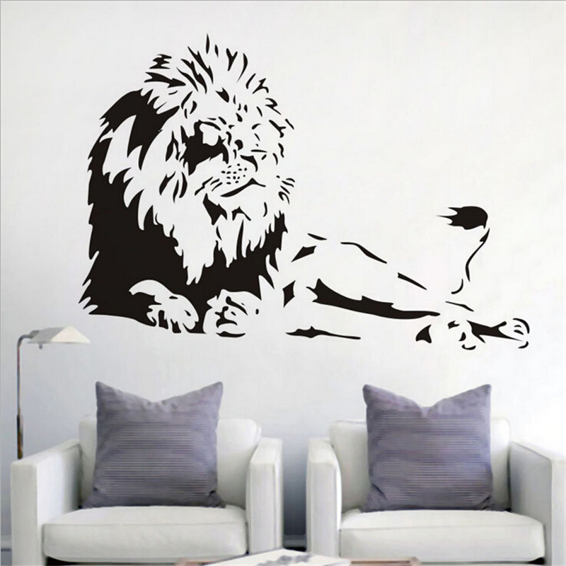 Large lions animal wall stickers living rooms bedroom for Stickers de pared