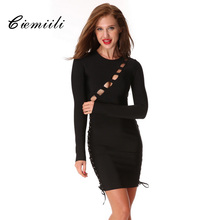 CIEMIILI 2017 Newest Women Sexy Spring O-neck Bandage Dress Hollow Out Long Sleeve Celebrity Party Bodycon Dresses Free Shipping