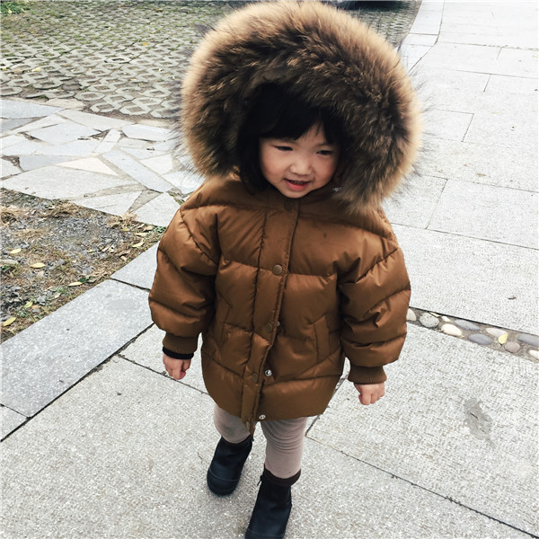 The children's down jacket has a long and thick young boy girl's hair collar and winter clothes pregnant women of han edition easy to film a word long woman with thick cotton padded clothes coat quilted jacket down jacket