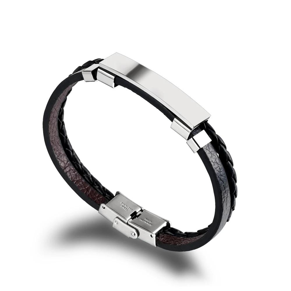 liujun 4Pcs Vintage Layered Leather Bracelet for Men Charm Black Beads Bangle Fashion Braided Wristband Silver Plated Feather Cuff Bangle for Women Personality Punk Bracelets Adjustable