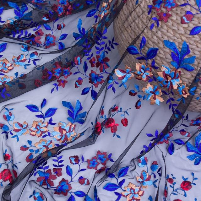 New high-end diy net yarn embroidery lace fabrics Small broken flower dress net cloth embroidered fabrics