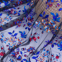 New High End Diy Net Yarn Embroidery Lace Fabrics Small Broken Flower Dress Net Cloth Embroidered