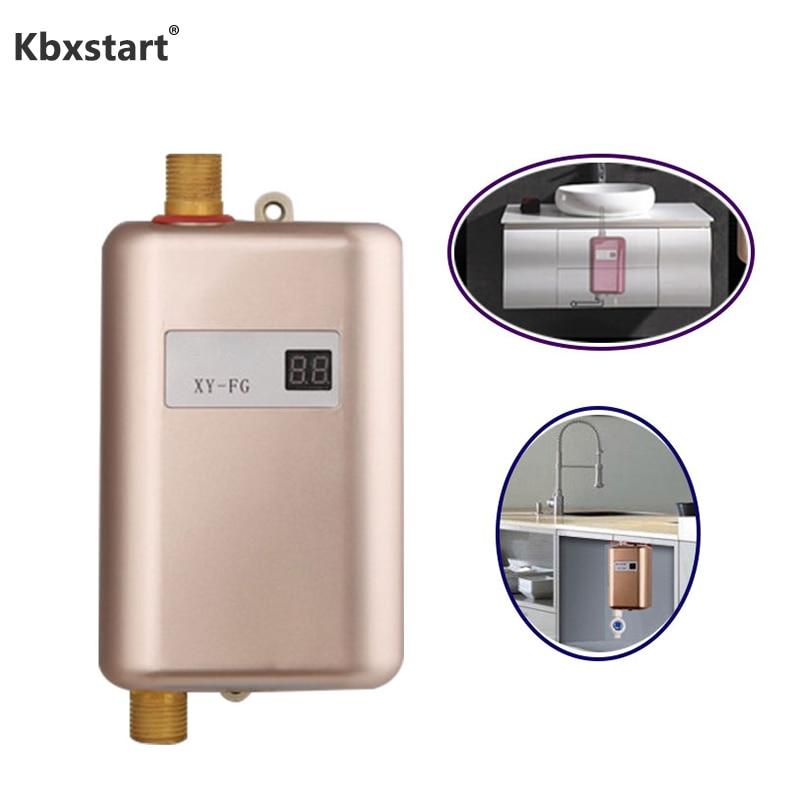 Aufstrebend 3800 W Elektrische Küche Wasser Heizung Tankless Instant Elektrische Wasser Heizung Dusche 3 Sekunden Heißer 110 V 220 V Temperatur Display