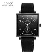 IBSO 8 мм ультра-тонкий квадратная коробка дизайн для мужчин s часы пояса из натуральной кожи Ремешок Модные Роскошные Кварцевые часы для мужчин бизнес…