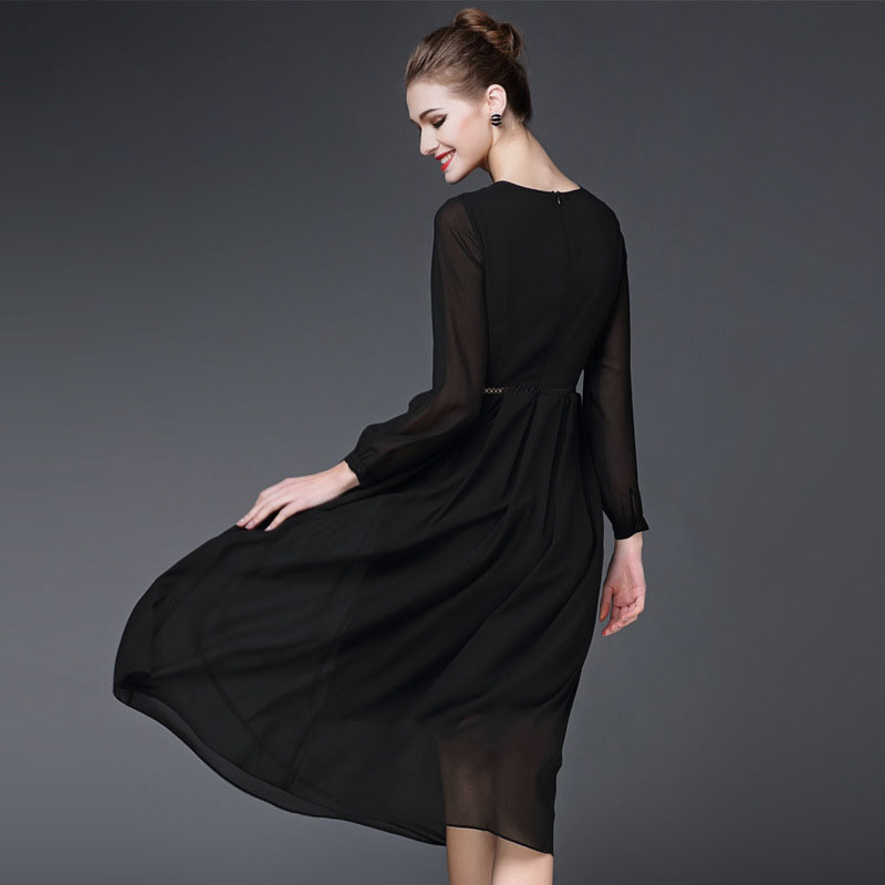 dd840fdbf6ea2 2017 spring new temperament European and American fashion high end fine  simple black long sleeved chiffon dress was thin -in Dresses from Women's  Clothing ...