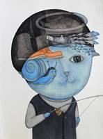 Китайский художник Цзоу Liangping's работа Котенок, который пошел Рыбалка Акварельная живопись настенные картины для гостиной Surreal