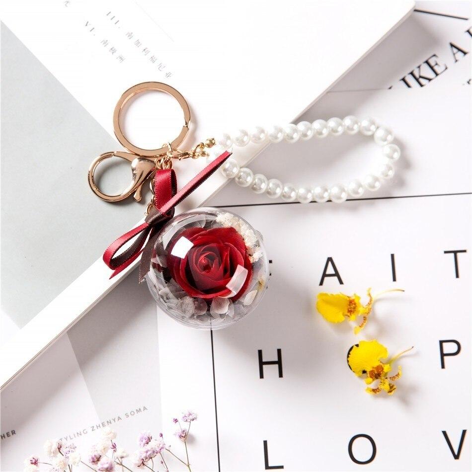 Вечный цветок розы с любовью стекло черный чехол искусственный цветок подарок на год Валентина Рождество Gif хорошее украшение дома - Цвет: 001