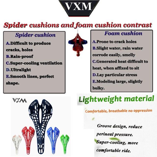 VXM Fietszadel Uprated Comfortabele Lichtgewicht MTB/Racefiets Hol Spider Zadel Zitkussen Fietsonderdelen