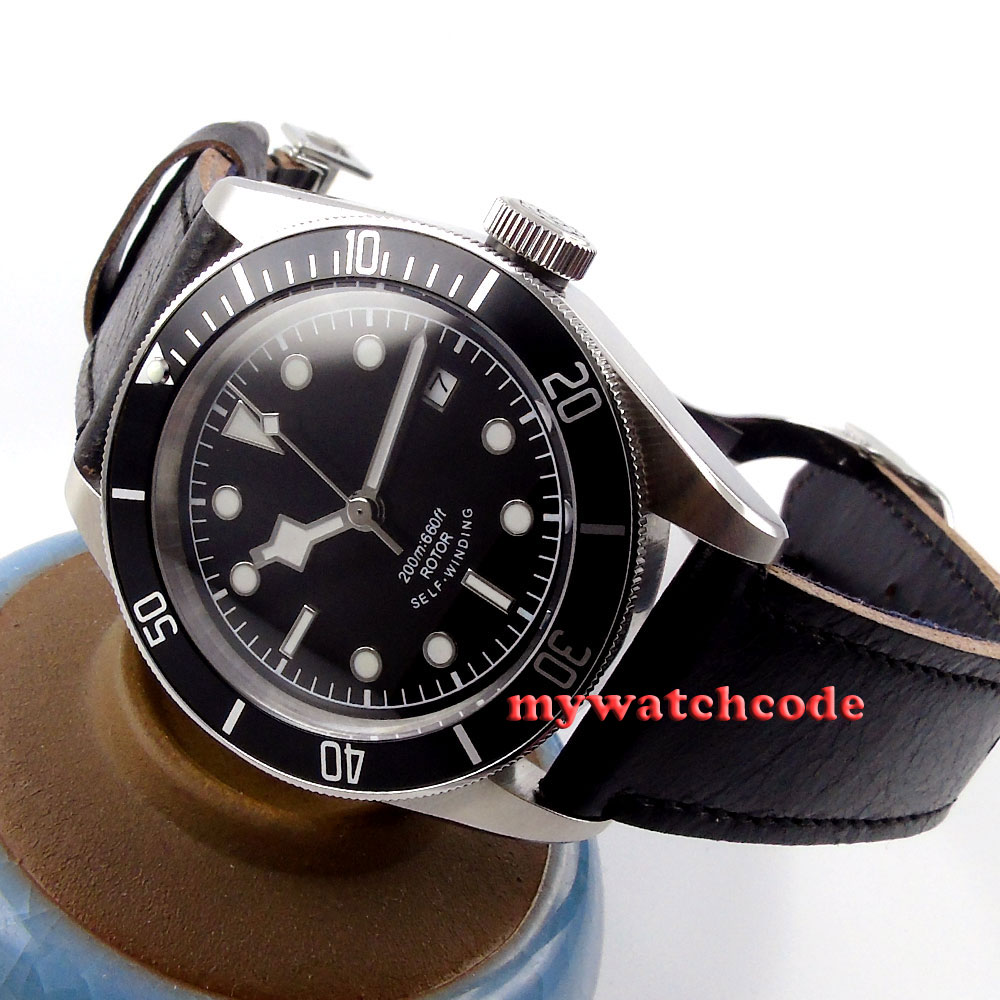 41mm corgeut black sterile dial Sapphire Glass miyota Automatic mens Watch cor13 цена и фото